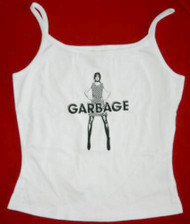 Garbage Spaghetti Strap Tank Top Shirley Manson White Women Size XL