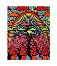 Field Of Shrooms Blacklight Tapestry Rainbow Mushrooms Cloth Wall Hanging