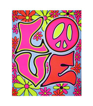 Love Peace Blacklight Tapestry Flower Power Cloth Wall Hanging