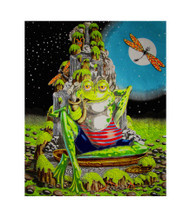 Smoking Froggy Blacklight Tapestry Frog Cloth Wall Hanging