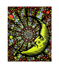 Moon And Stars Blacklight Tapestry Frog Cloth Wall Hanging
