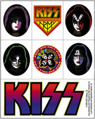 Kiss Sticker Set Four Faces 7 Mini Stickers