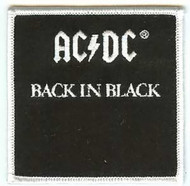 AC/DC Iron-On Patch Square Back In Black Logo