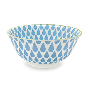 Raindrop Pad Printed Bowl, Set of 2, Sky Blue/Lime