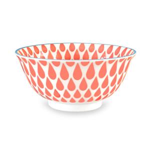Raindrop Pad Printed Bowl, Set of 2, Peach/Blue