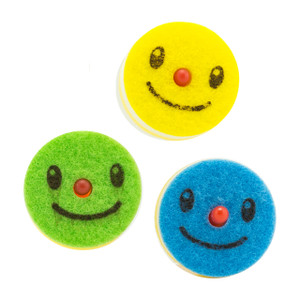 Cute Raindeer Nose Smiley Dish Sponge 3pcs (Asst)