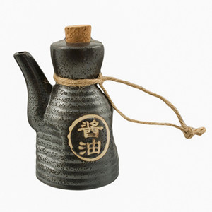 "Shoyu Soy Sauce Dispenser with Cork 4.5""H - Black"