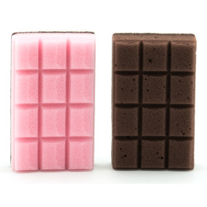 Chocolate Bar Shape Fun Kitchen Sponge 2pc