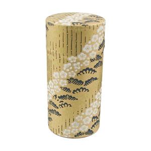 "Floral Bush Print Tin Tea Canister Storage 6""H, Gold"