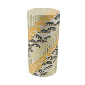 "Floral Bush Print Tin Tea Canister Storage 6""H, Beige Gold"
