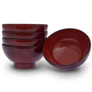 Red Lacquer Soup Bowls (5pc)