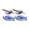 Fish Plate & Sauce Bowl Set - Blue