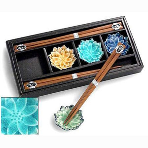 Wooden Chopsticks & Flower Rest Set