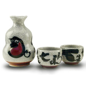 Crackle White Sake Set