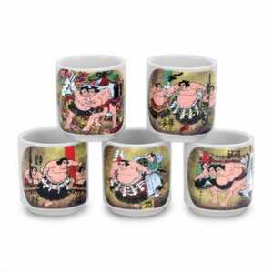 Japanese Sumo Sake Cups (Set of 5)