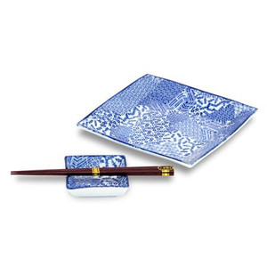 Blue Square Plates & Chopsticks Set