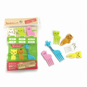 PakuPakuLunch Animal Fruit Forks Bento Assorted- 6pc