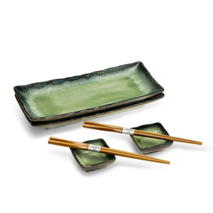 Forest and Moss Green Sushi Plate Set for 2