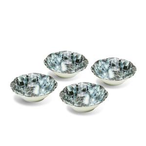 Black-Blue Monochrome Peony Bowls