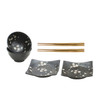 Black Sakura Bowl and Plate Set
