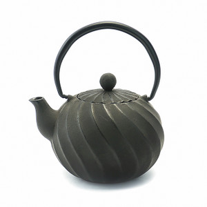Rikyu Twist Cast Iron Teapot - Black