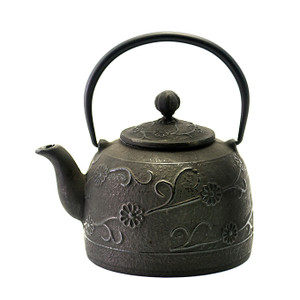 Rikyu Floral Cast Iron Teapot - Black