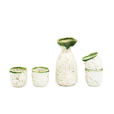 Speckled Beige Green Sake Set