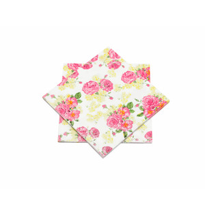 "Pink and Yellow Floral Paper Napkins 6.5"" - 10 sheets"