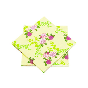"Purple and Yellow Floral Paper Napkins 6.5"" - 10 sheets"