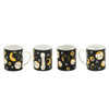 Mischievous Kitty-Cat Black Mug 4pcs Set