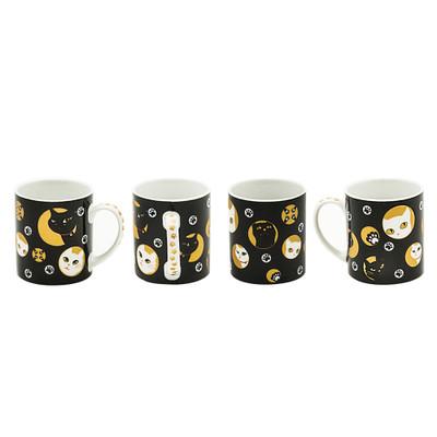 Mischievous Kitty-Cat Black Mug 4pcs Set