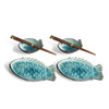 Fish Plate & Sauce Bowl Set - Turquoise