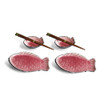 Fish Plate & Sauce Bowl Set - Red