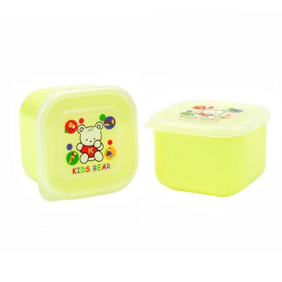 Yellow Kid's Bear Container for food storage 2pcs