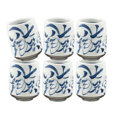 Blue Brushstroke Teacup 6pcs
