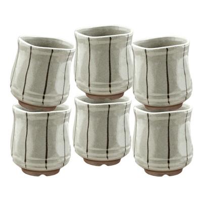 Sand Gray Thin Stripe Teacup 6pcs