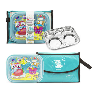 Edison Owl Lunchbox with Satin Pouch - Blue