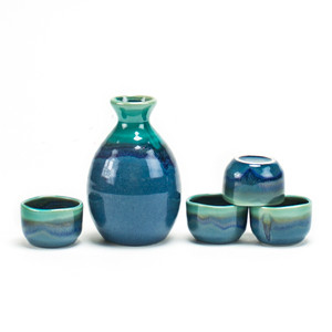 Sea Green Iridescent Sake Set