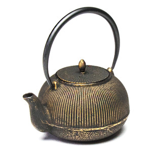Cast Iron Teapot Stripes - Gold/Black
