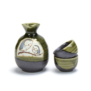 Kafuh Japan Seaweed Green Owls On Branch Sakura Sake Set