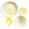Kids Spring Porcelain Dinner Set-Yellow Cat: Snack Bowl, Rice Bowl, Noodle Bowl, Plate