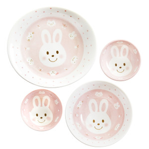Kids Spring Porcelain Dinner Set-Pink Rabbit