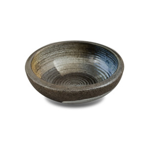 "Blue & Orange Brush Stroke Stoneware Serving Bowl 6.5"""