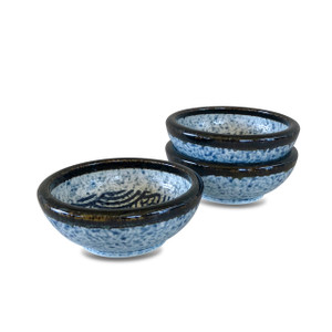 """Blue Japanese Wave Bowl with Brown Rim 5"""", Set of 3"""