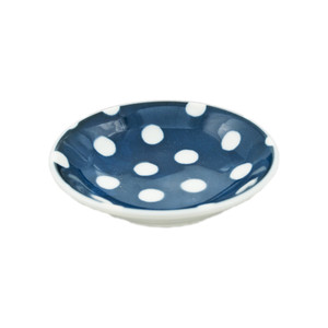 "Polka Dot Navy Blue Sauce Bowl 3.5""D, Set of 4"