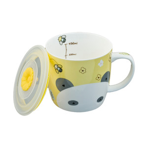 "Cute Yellow Panda Mug with Lid 3.5""H"