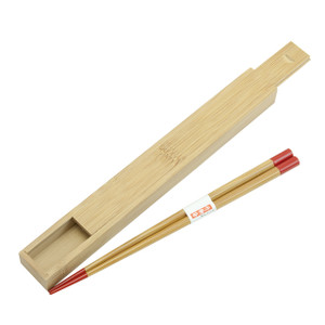 Two Tone Wooden Chopsticks with Case 2pc (Red)