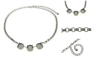 Empty 14mm Rivoli Round 3 Box Necklaces Smooth Rolo Chain 3 Pieces