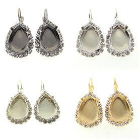 18mm x 13mm Pear Empty Earrings with Crystal Rhinestones One Pair
