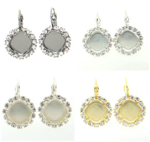Empty Setting Earrings with Crystal Rhinestones 12mm Square Cushion Cut
